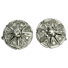 Antique Deco Old Cut Diamond Clip Earrings 18K