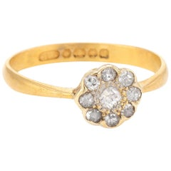 Antique Deco Old Mine Diamond Ring Cluster 22 Karat Yellow Gold, Engagement