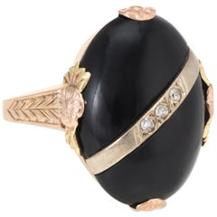 Antique Deco Onyx Diamond Two-Tone 10 Karat Gold Cocktail Ring