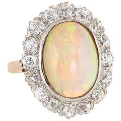 Antique Deco Opal Diamond Ring 14 Karat Gold Cocktail Oval Princess Vintage