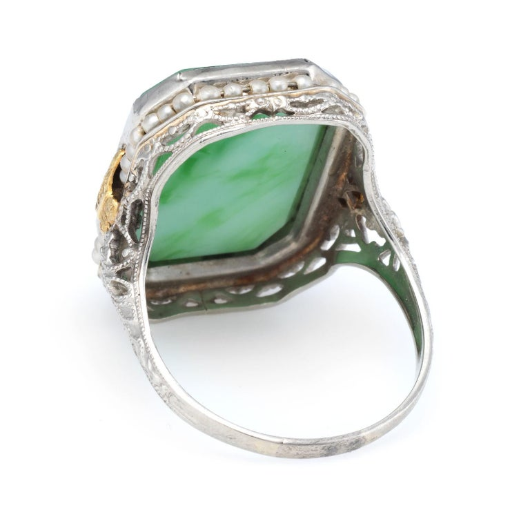 Antique Deco Ostby Barton Ring Green Jade Pearl Filigree