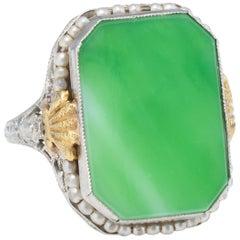 Antique Deco Ostby Barton Ring Green Jade Pearl Filigree 10 Karat White Gold