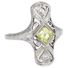 Antique Deco Peridot Diamond Cocktail Ring Vintage 14 Karat Gold Estate Jewelry