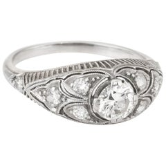 Antique Deco Platinum Diamond Filigree Ring Heirloom