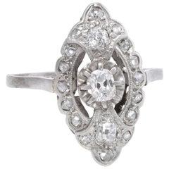 Antique Deco Platinum Diamond Navette Cocktail Ring Vintage Fine Jewelry