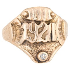 Antique Deco Signet Ring c1921 Diamond 14k Yellow Gold Vintage Jewelry
