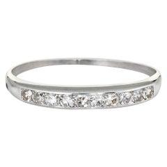 Antique Deco White Sapphire Ring Platinum 6 Vintage Wedding Band Bridal Jewelry