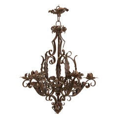 Antique Decorative 6-Light Wrought Iron Chandelier, Denmark