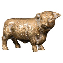 Antique Decorative Bull Figure, English, Brass, Desk, Display Statue, Victorian