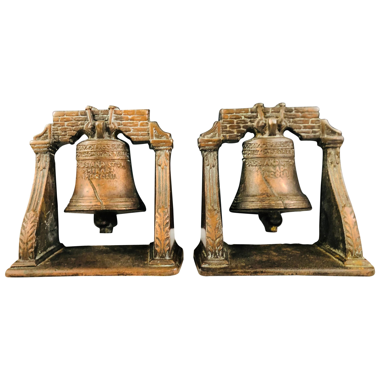 Antique Decorative Cast Bronze Mission Bell Sculpture, a Pair