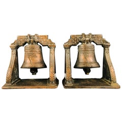 Antique Decorative Cast Bronze Mission Bell Sculpture, a Pair