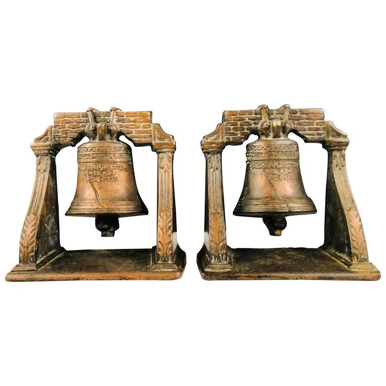 Antique Decorative Cast Bronze Mission Bell Sculpture, a Pair For Sale