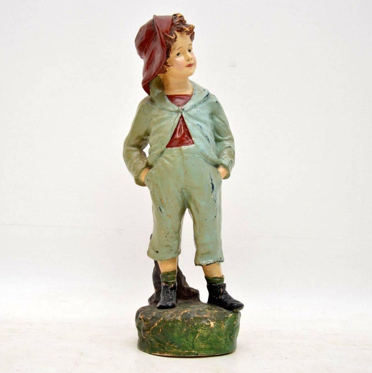 Antique Decorative Chalk Ware Figure of a Boy  For Sale 4