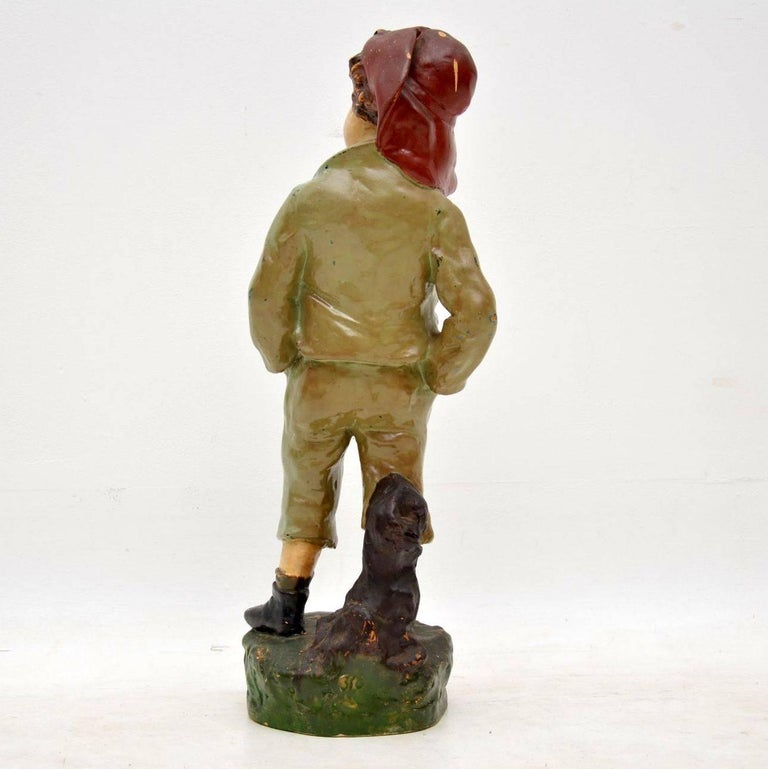 French Antique Decorative Chalk Ware Figure of a Boy  For Sale