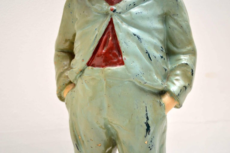 Late 19th Century Antique Decorative Chalk Ware Figure of a Boy  For Sale