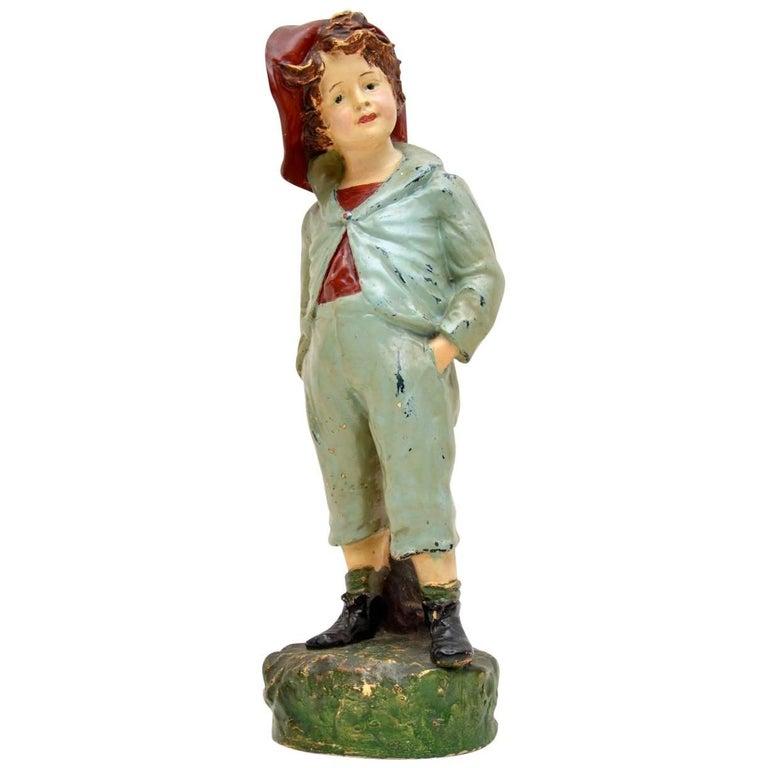 Antique Decorative Chalk Ware Figure of a Boy  For Sale