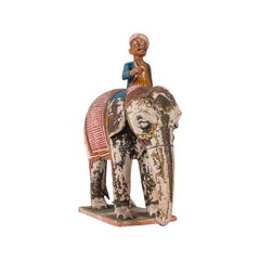 Antique Decorative Elephant and Rider, Indian, Hand Painted, Figure, Victorian