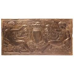 Antique Decorative Figural Tin Wall Panel