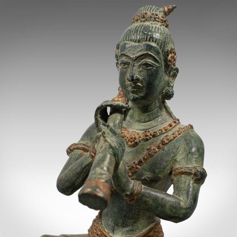 Antique Decorative Figure, Oriental, Bronze, Statue, Study, Musician, circa 1900 For Sale 6