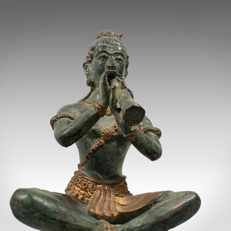 Antique Decorative Figure, Oriental, Bronze, Statue, Study, Musician, circa 1900 For Sale 7