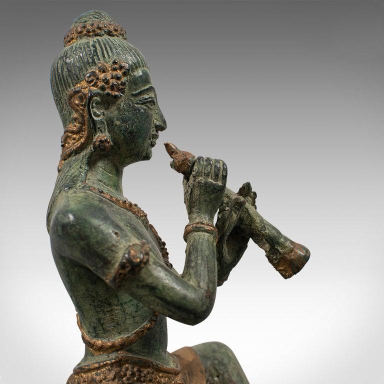 Antique Decorative Figure, Oriental, Bronze, Statue, Study, Musician, circa 1900 For Sale 8