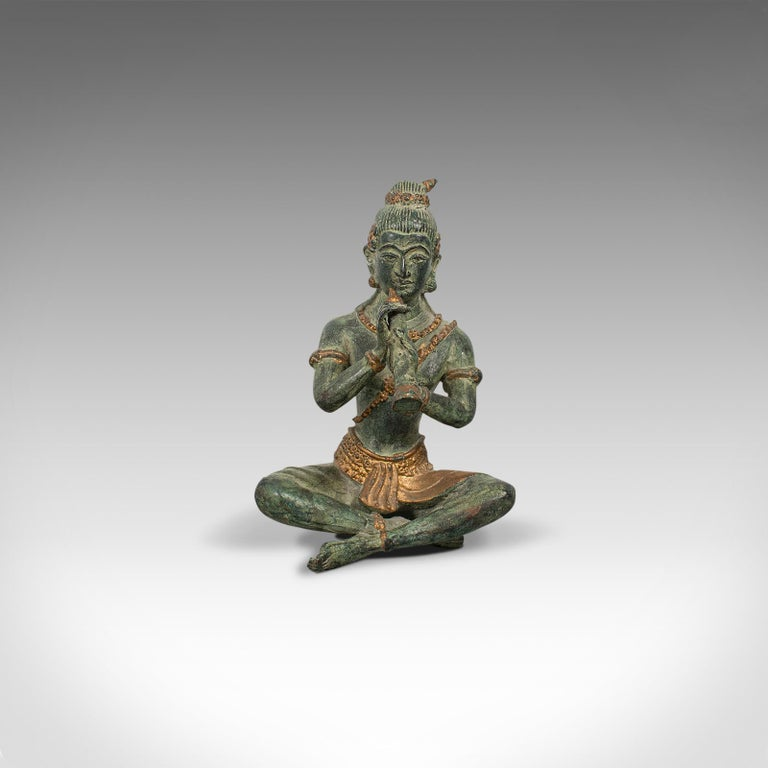 This is an antique decorative figure. An Oriental, bronze statue or study of a musician, dating to the late 19th century, circa 1900.  Diminutive and superbly weathered Displaying a desirable aged patina - in pleasingly good order