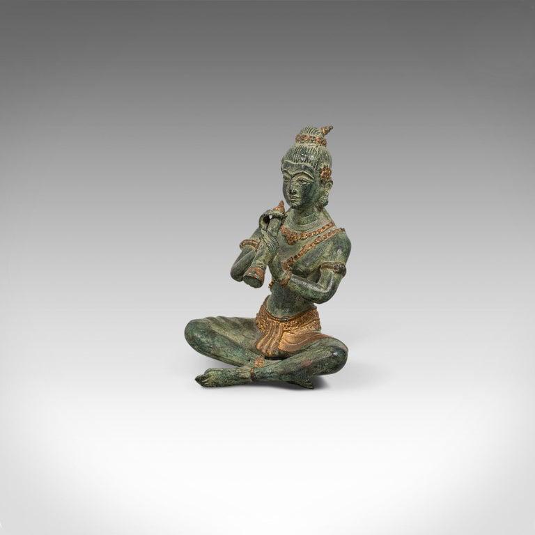 Antique Decorative Figure, Oriental, Bronze, Statue, Study, Musician, circa 1900 In Good Condition For Sale In Hele, Devon, GB