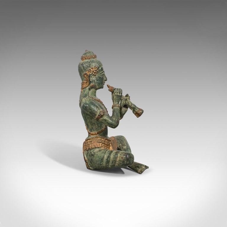 19th Century Antique Decorative Figure, Oriental, Bronze, Statue, Study, Musician, circa 1900 For Sale