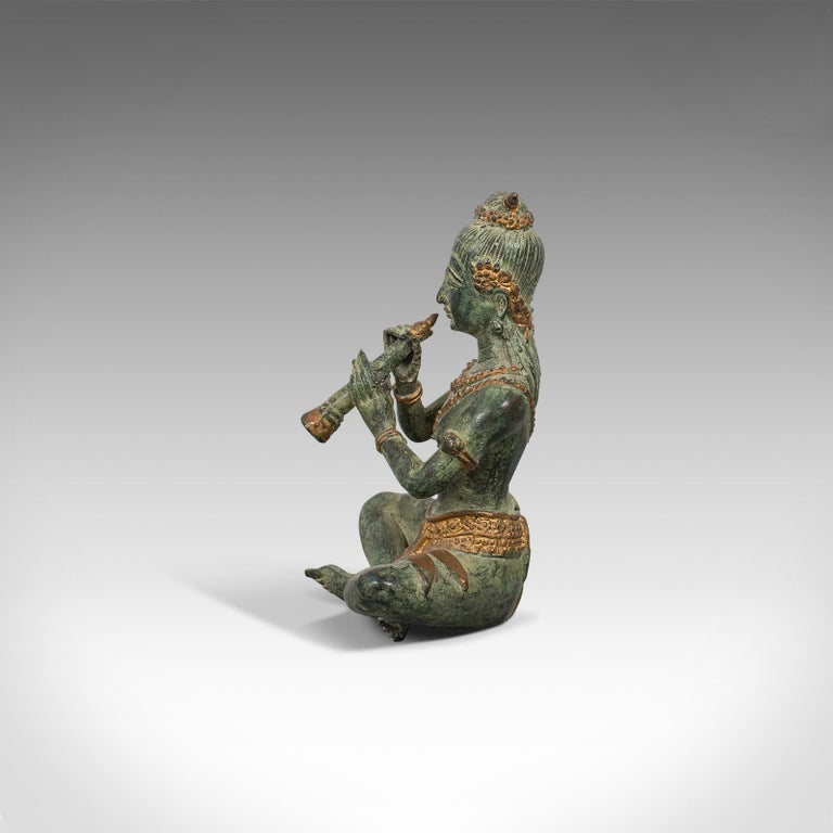 Antique Decorative Figure, Oriental, Bronze, Statue, Study, Musician, circa 1900 For Sale 1