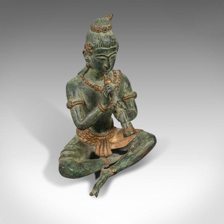 Antique Decorative Figure, Oriental, Bronze, Statue, Study, Musician, circa 1900 For Sale 3
