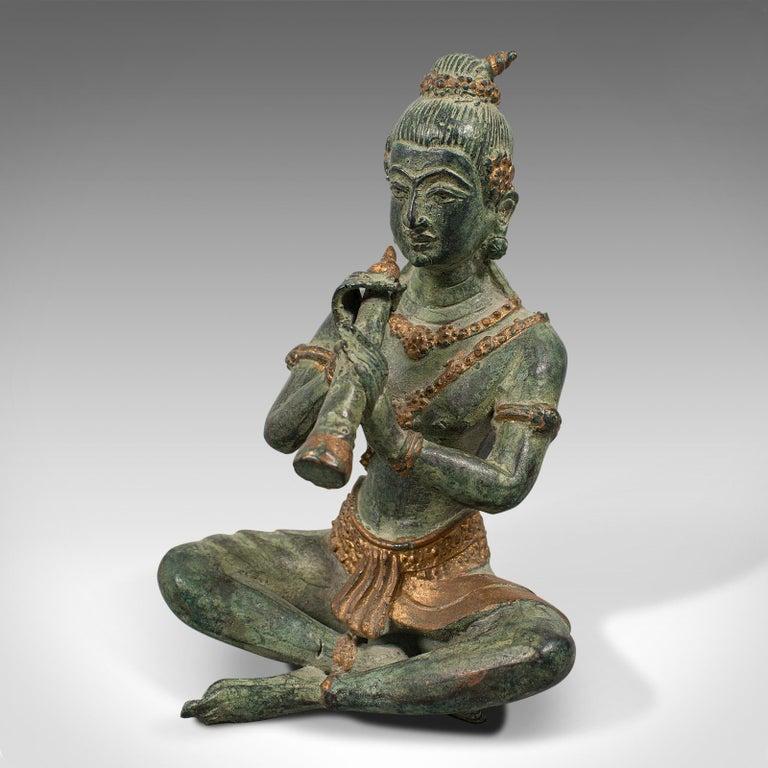 Antique Decorative Figure, Oriental, Bronze, Statue, Study, Musician, circa 1900 For Sale 4
