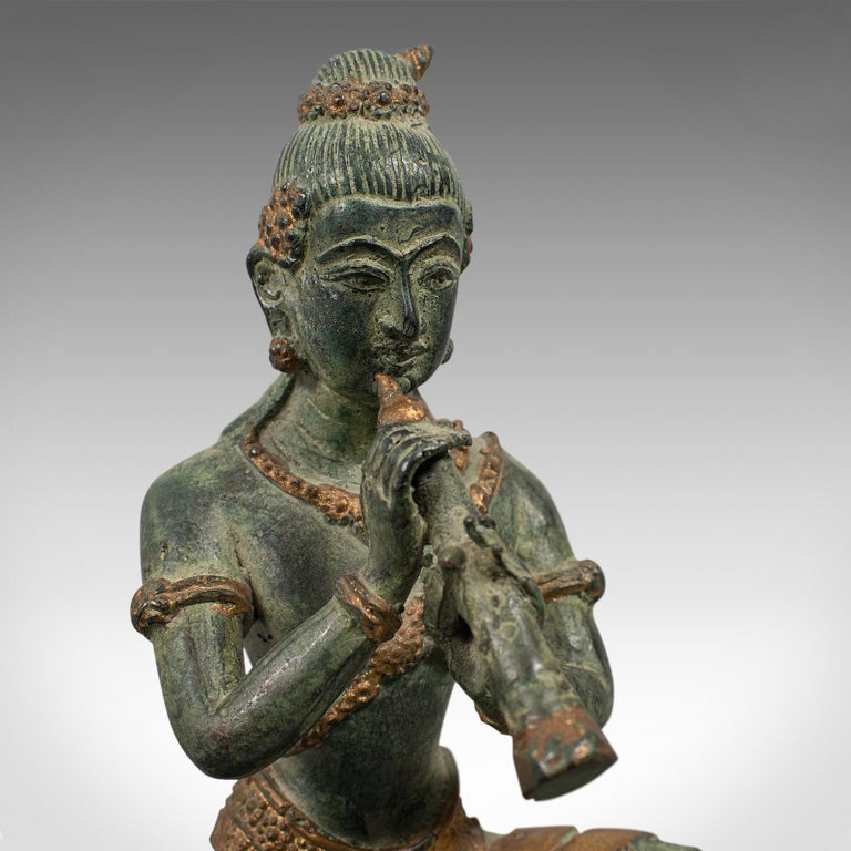 Antique Decorative Figure, Oriental, Bronze, Statue, Study, Musician, circa 1900 For Sale 5