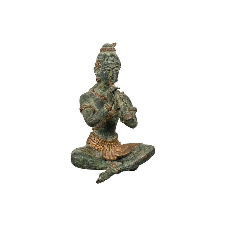 Antique Decorative Figure, Oriental, Bronze, Statue, Study, Musician, circa 1900 For Sale