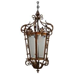 Antique Decorative Gilt Brass Lantern Pendant Light