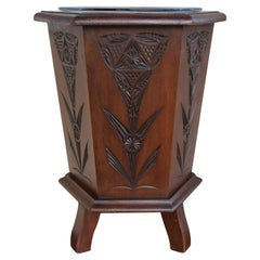 Antique & Decorative Hand Carved Arts & Crafts Planter / Bucket with Glass Liner