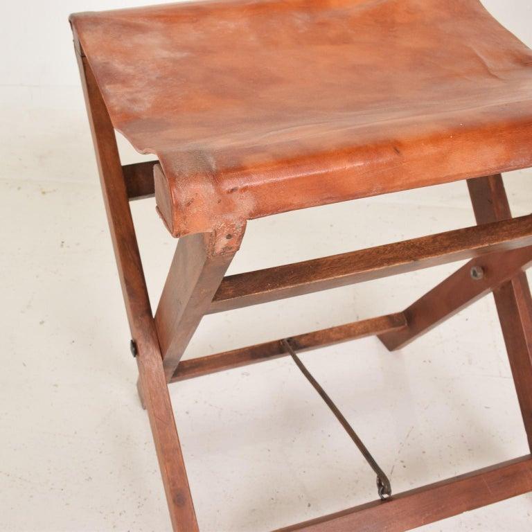 Antique Decorative Leather And Mahogany Folding Wood