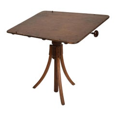 Antique Decorative Oak Drafting Table Adjustable Artist