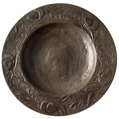 Antique Decorative Pewter Plate with Leaves and Acorns