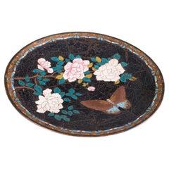 Antique Decorative Plate, Japanese, Cloisonne, Fruit, Serving Dish, Victorian