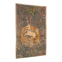 Antique Decorative Tapestry, French, Needlepoint, Wall Covering, Unicorn, C.1920