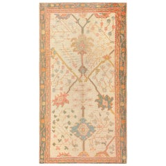 Antique Decorative Turkish Oushak Rug. Size: 3 ft 7 in x 6 ft 7 in