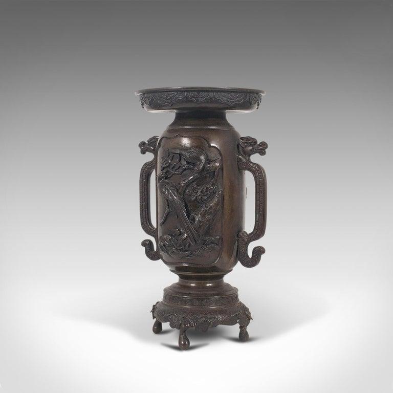 Decorative Vase, Japanese, Bronze, Meiji Period, Late 19th Century, circa 1900 In Good Condition For Sale In Hele, Devon, GB