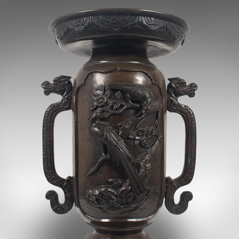 Decorative Vase, Japanese, Bronze, Meiji Period, Late 19th Century, circa 1900 For Sale 6