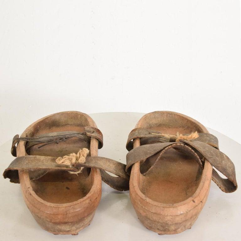 19th Century Antique Decorative Wood Gardening Shoes Japanese Asian