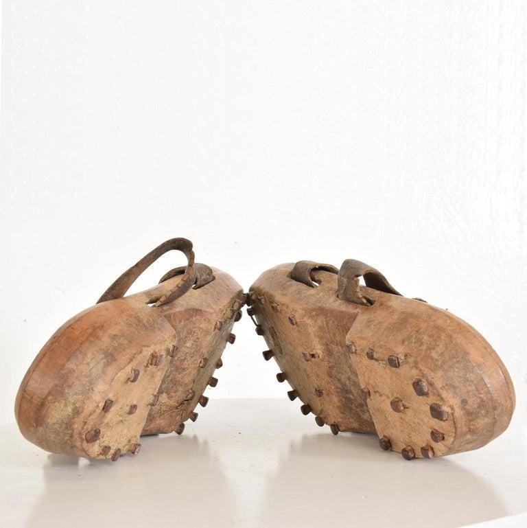 Leather Antique Decorative Wood Gardening Shoes Japanese Asian