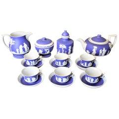 Antique Deep Blue Wedgwood Jasperware Ten Piece Tea Set with Neoclassical Motif