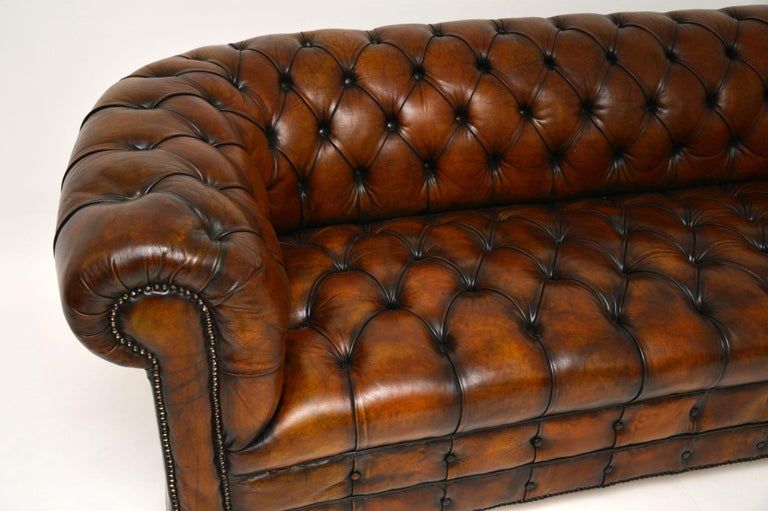 Victorian Antique Deep Buttoned Leather Chesterfield Sofa For Sale