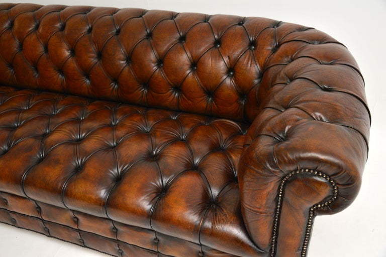 English Antique Deep Buttoned Leather Chesterfield Sofa For Sale