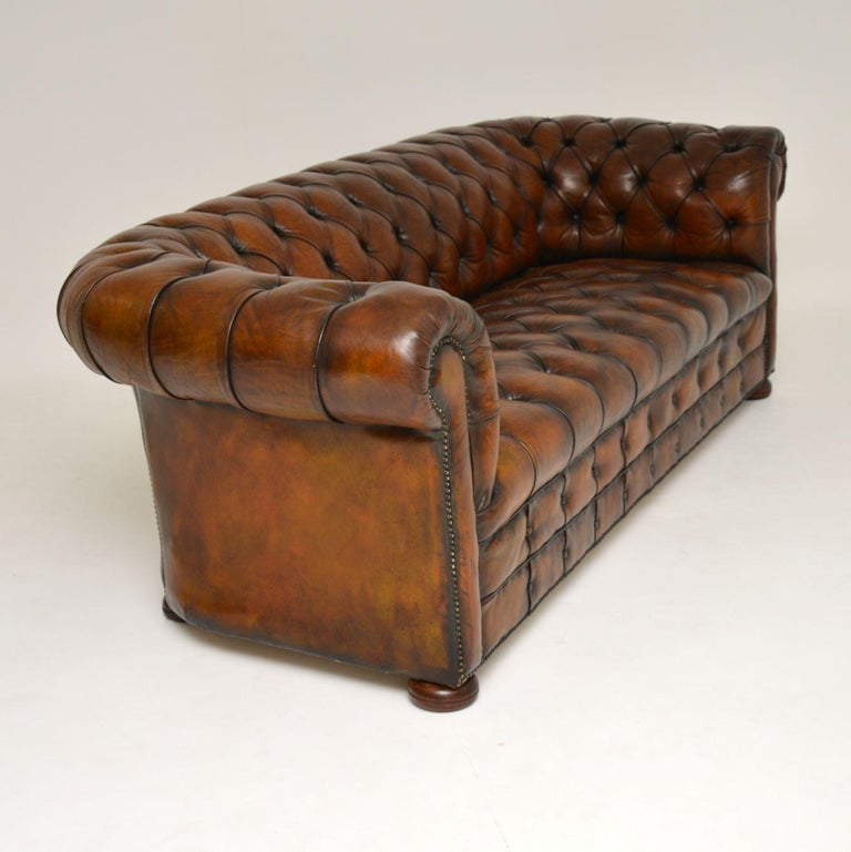 Mid-20th Century Antique Deep Buttoned Leather Chesterfield Sofa For Sale