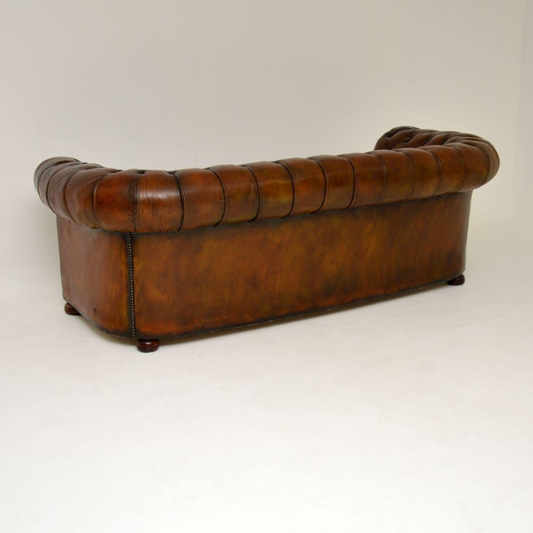 Antique Deep Buttoned Leather Chesterfield Sofa For Sale 2